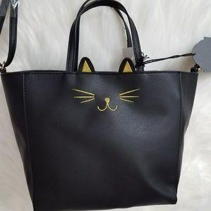 Black Kitty Tote Bag Purse Shopper Shoulder Strap